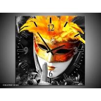 Wandklok op Canvas Masker | Kleur: Zwart, Grijs, Oranje | F002098C