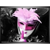 Glas schilderij Masker | Zwart, Grijs, Paars