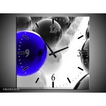 Wandklok op Canvas Ballen | Kleur: Zwart, Wit, Blauw | F002105C