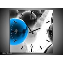 Wandklok op Canvas Ballen | Kleur: Zwart, Wit, Blauw | F002107C