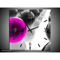 Wandklok op Canvas Ballen   Kleur: Zwart, Wit, Roze   F002109C