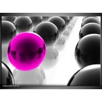 Glas schilderij Ballen | Zwart, Wit, Roze