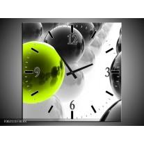 Wandklok op Canvas Ballen | Kleur: Zwart, Wit, Groen | F002111C