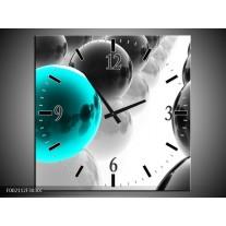 Wandklok op Canvas Ballen | Kleur: Zwart, Wit, Blauw | F002112C