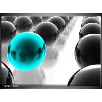 Glas schilderij Ballen | Zwart, Wit, Blauw