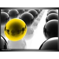 Glas schilderij Ballen | Zwart, Wit, Geel