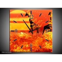 Wandklok op Canvas Dieren | Kleur: Zwart, Oranje, Geel | F002114C