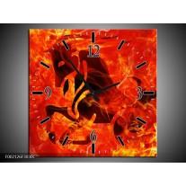 Wandklok op Canvas Paard | Kleur: Zwart, Oranje, Geel | F002126C