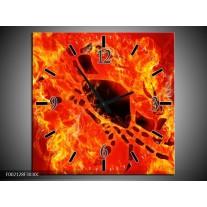 Wandklok op Canvas Vuur | Kleur: Zwart, Oranje, Geel | F002128C