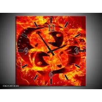 Wandklok op Canvas Vuur | Kleur: Zwart, Oranje, Geel | F002130C