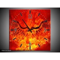 Wandklok op Canvas Vuur | Kleur: Zwart, Oranje, Geel | F002131C