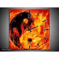 Wandklok op Canvas Vuur | Kleur: Zwart, Oranje, Geel | F002132C