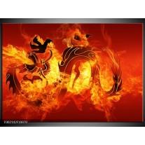 Foto canvas schilderij Draak | Zwart, Oranje, Geel