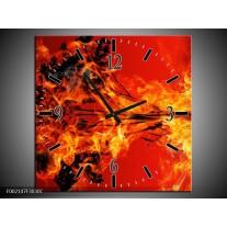 Wandklok op Canvas Vuur   Kleur: Zwart, Oranje, Geel   F002147C