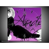 Wandklok op Canvas Audrey | Kleur: Zwart, Wit, Paars | F002151C