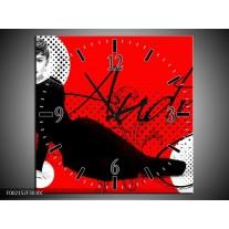 Wandklok op Canvas Audrey | Kleur: Zwart, Wit, Rood | F002152C