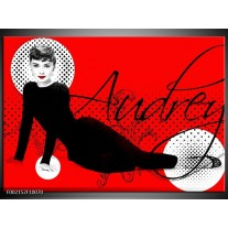 Glas schilderij Audrey | Zwart, Wit, Rood