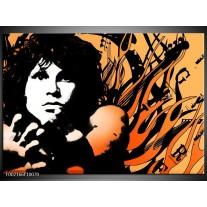 Foto canvas schilderij Muziek | Zwart, Wit, Oranje