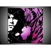 Wandklok op Canvas Muziek | Kleur: Zwart, Wit, Paars | F002167C