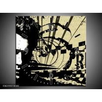 Wandklok op Canvas Popart   Kleur: Zwart, Wit, Bruin   F002191C