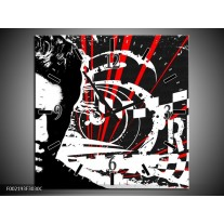 Wandklok op Canvas Popart | Kleur: Zwart, Wit, Rood | F002193C