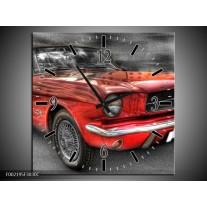 Wandklok op Canvas Mustang | Kleur: Zwart, Grijs, Rood | F002195C