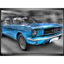 Foto canvas schilderij Mustang | Zwart, Grijs, Blauw