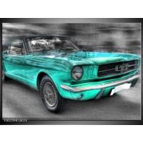 Glas schilderij Mustang | Zwart, Grijs, Blauw