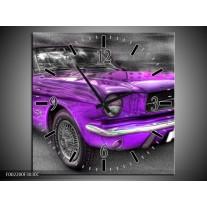 Wandklok op Canvas Mustang | Kleur: Zwart, Grijs, Paars | F002200C