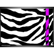 Glas schilderij Zebra | Zwart, Paars
