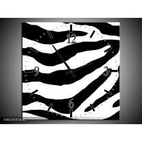 Wandklok op Canvas Zebra | Kleur: Zwart, Rood, Wit | F002203C