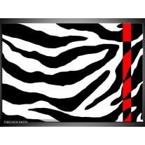 Glas schilderij Zebra | Zwart, Rood, Wit
