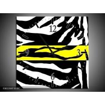 Wandklok op Canvas Zebra | Kleur: Geel, Zwart, Wit | F002204C