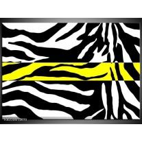 Glas schilderij Zebra | Geel, Zwart, Wit