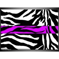 Glas schilderij Zebra | Zwart, Wit, Paars