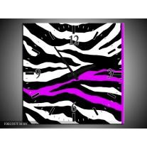 Wandklok op Canvas Zebra | Kleur: Zwart, Wit, Paars | F002207C