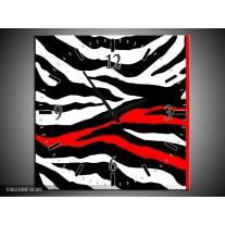 Wandklok op Canvas Zebra | Kleur: Zwart, Wit, Rood | F002208C
