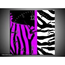 Wandklok op Canvas Zebra   Kleur: Paars, Zwart, Wit   F002209C