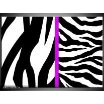 Foto canvas schilderij Zebra | Paars, Wit, Zwart