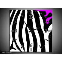 Wandklok op Canvas Zebra | Kleur: Paars, Zwart, Wit | F002215C