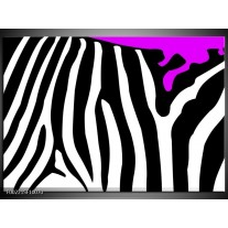 Glas schilderij Zebra   Paars, Zwart, Wit