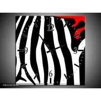 Wandklok op Canvas Abstract | Kleur: Zwart, Wit, Rood | F002216C