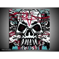 Wandklok op Canvas Popart | Kleur: Groen, Rood, Zwart | F002223C