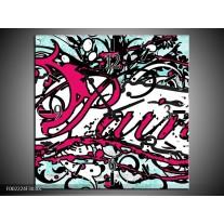 Wandklok op Canvas Popart | Kleur: Zwart, Wit, Roze | F002224C