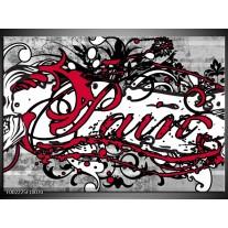 Glas schilderij Popart | Zwart, Wit, Rood