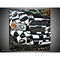 Wandklok op Canvas Auto | Kleur: Zwart, Wit, Blauw | F002228C