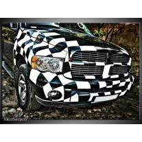 Glas schilderij Auto | Zwart, Wit, Blauw