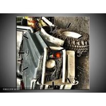 Wandklok op Canvas Auto   Kleur: Grijs, Groen   F002229C