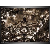 Glas schilderij Poort | Bruin, Wit, Zwart