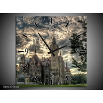 Wandklok op Canvas Kasteel | Kleur: Grijs, Zwart, Groen | F002235C